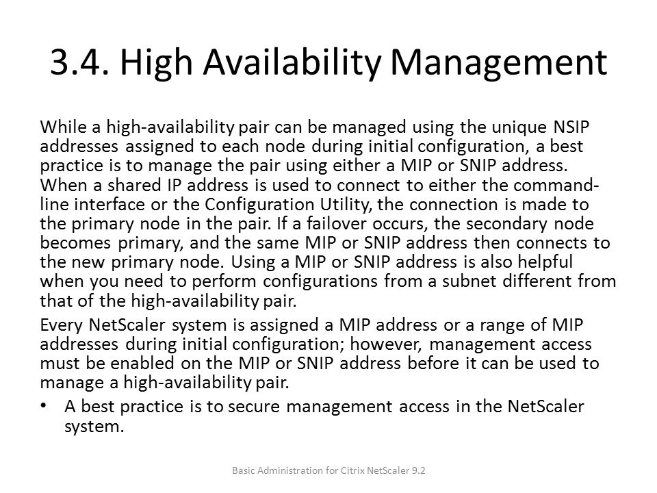3.4. High Availability Management
