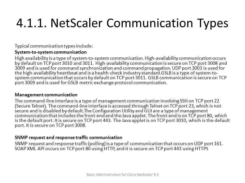 4.1.1. NetScaler Communication Types