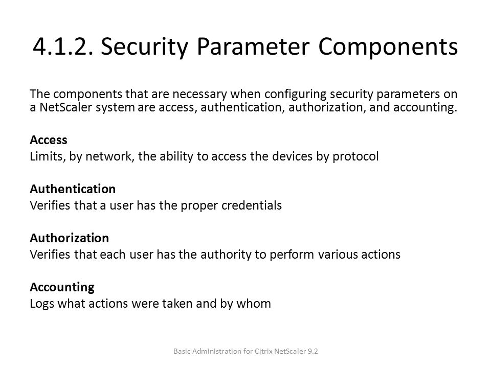 4.1.2. Security Parameter Components