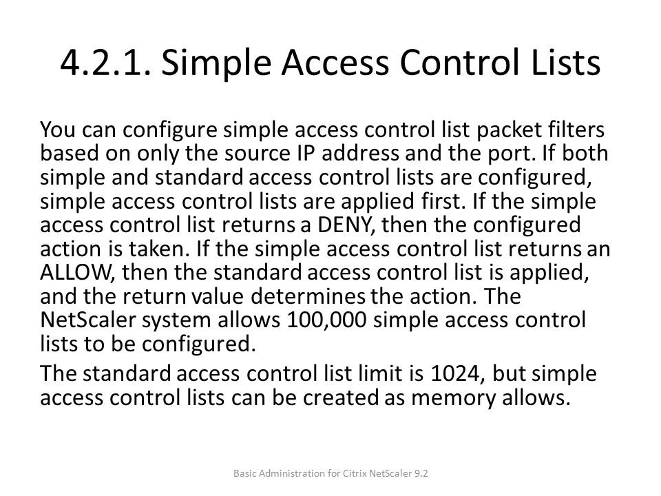 4.2.1. Simple Access Control Lists