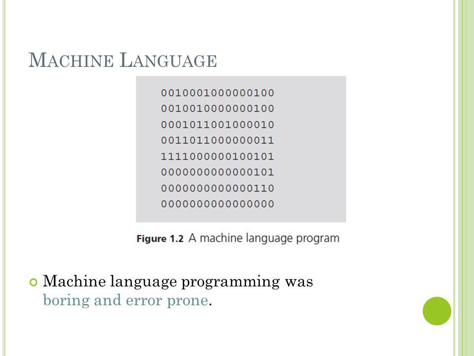 Machine Language Machine language programming was boring and error prone.