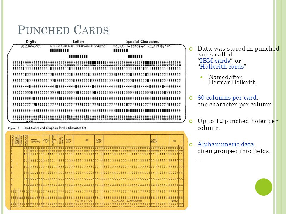 Punched Cards Data was stored in punched cards called IBM cards or Hollerith cards Named after Herman Hollerith.