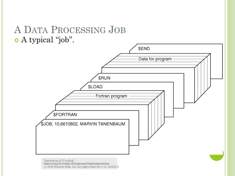 A Data Processing Job A typical job . Tanenbaum & Woodhull
