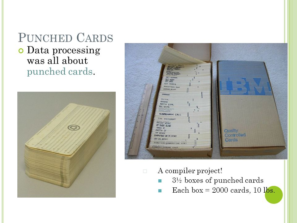 Punched Cards Data processing was all about punched cards.