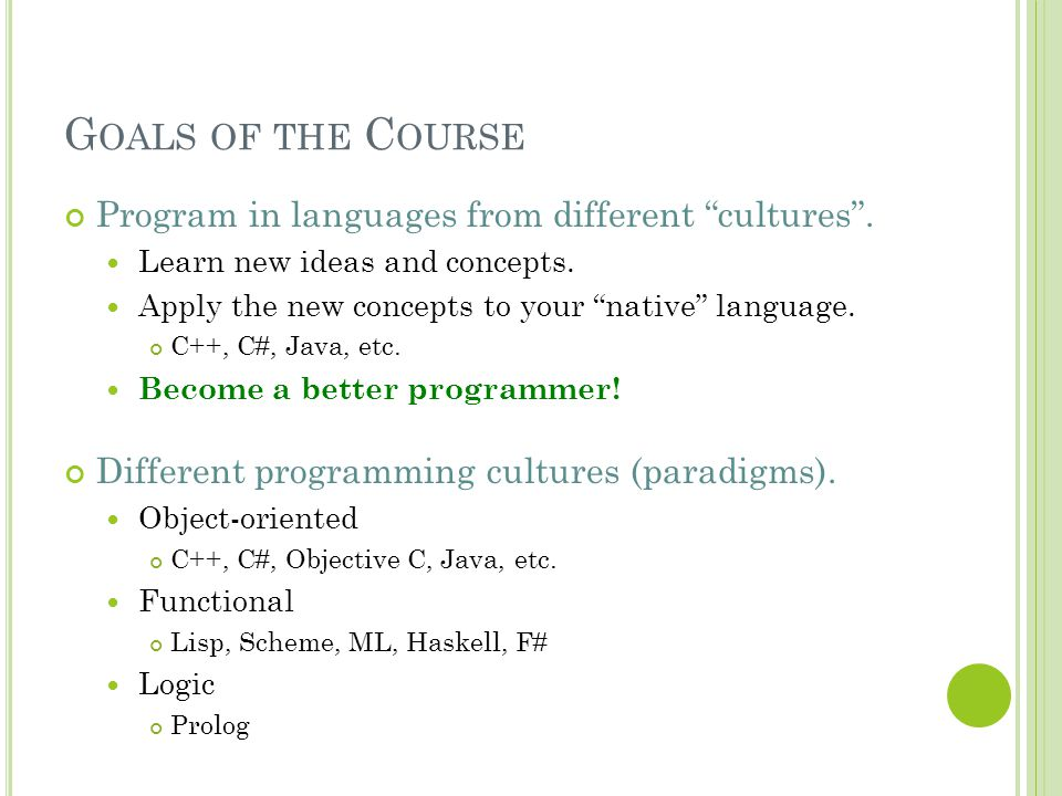 Goals of the Course Program in languages from different cultures .