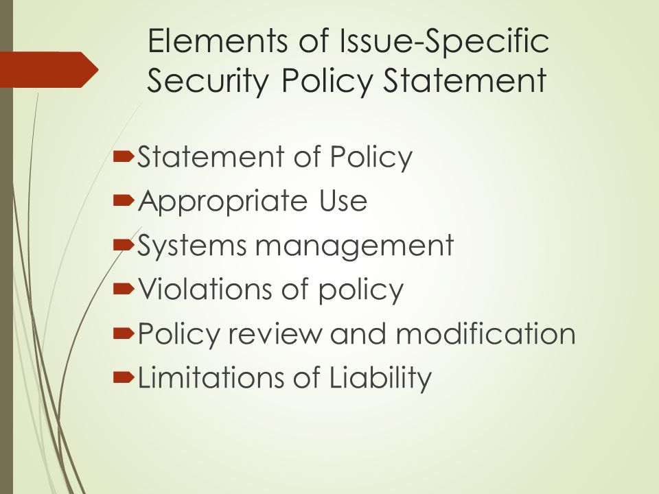 Elements of Issue-Specific Security Policy Statement