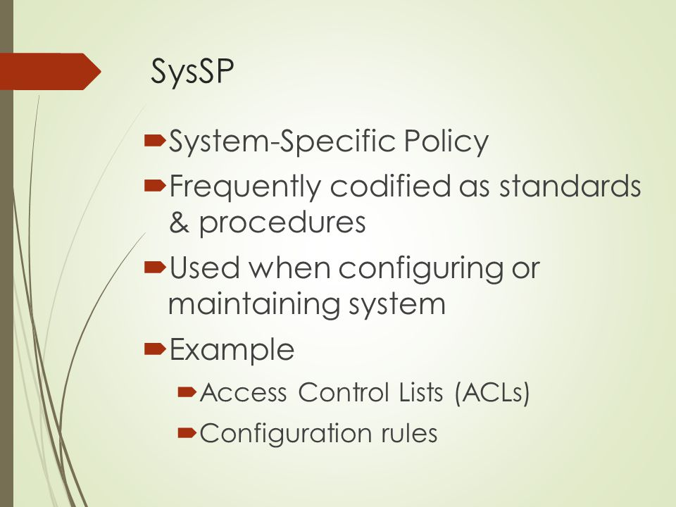 SysSP System-Specific Policy