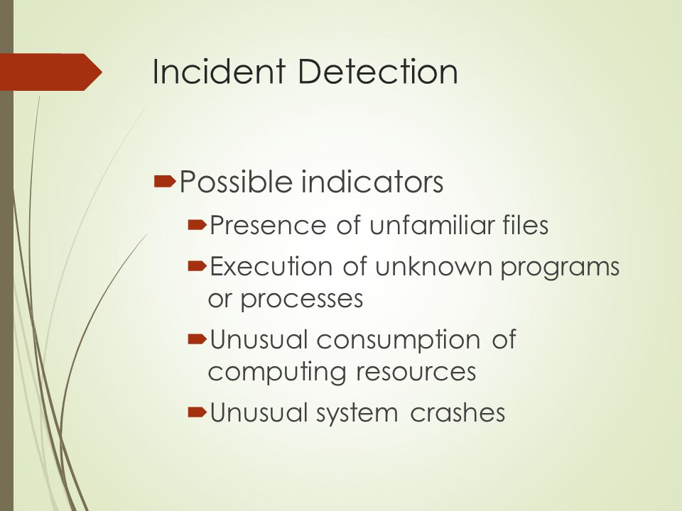 Incident Detection Possible indicators Presence of unfamiliar files