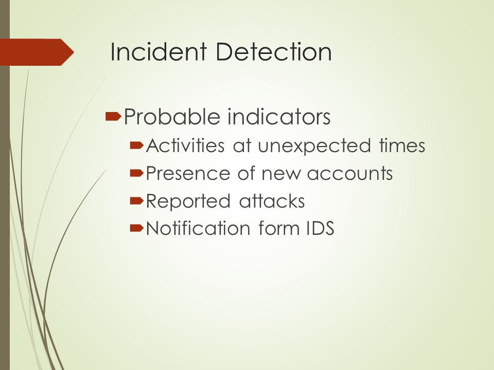 Incident Detection Probable indicators Activities at unexpected times
