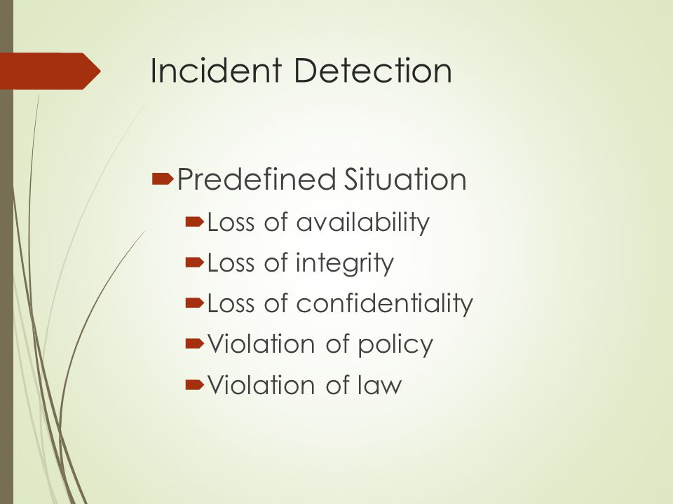 Incident Detection Predefined Situation Loss of availability
