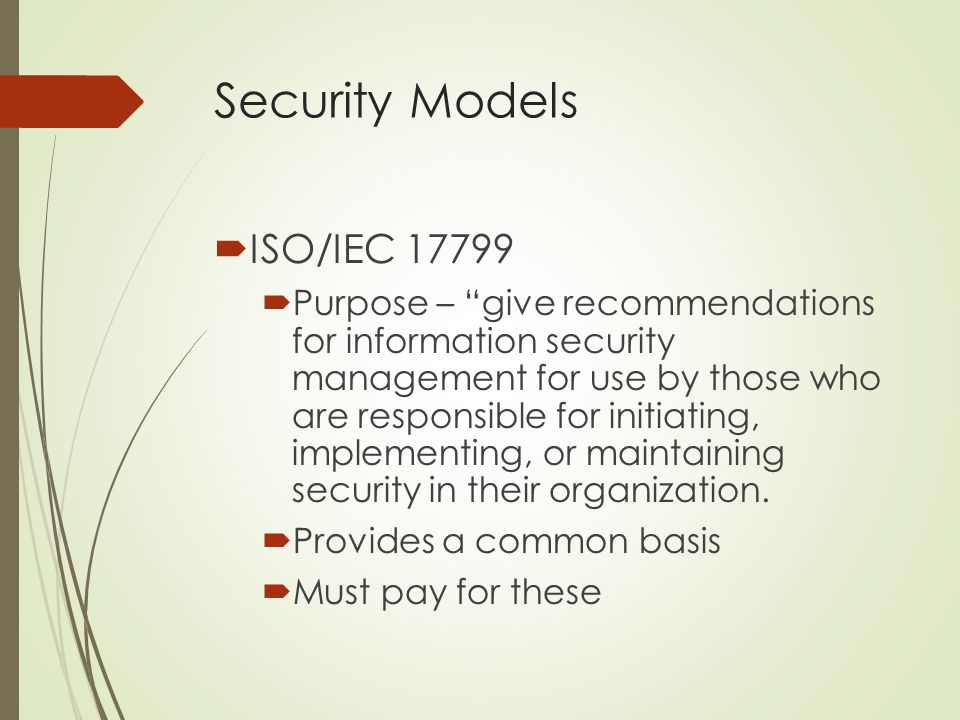 Security Models ISO/IEC 17799