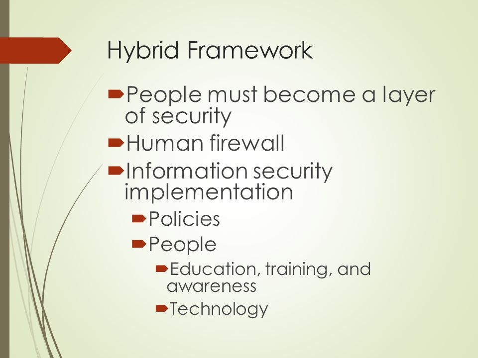 Hybrid Framework People must become a layer of security Human firewall