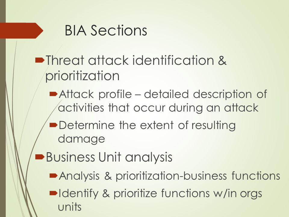 BIA Sections Threat attack identification & prioritization