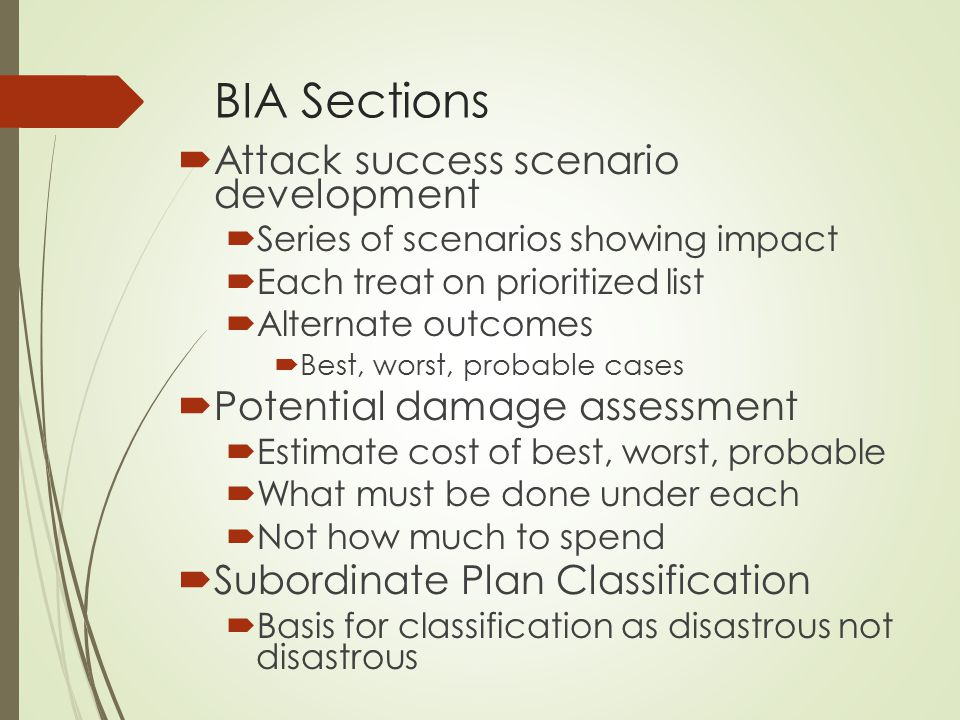 BIA Sections Attack success scenario development