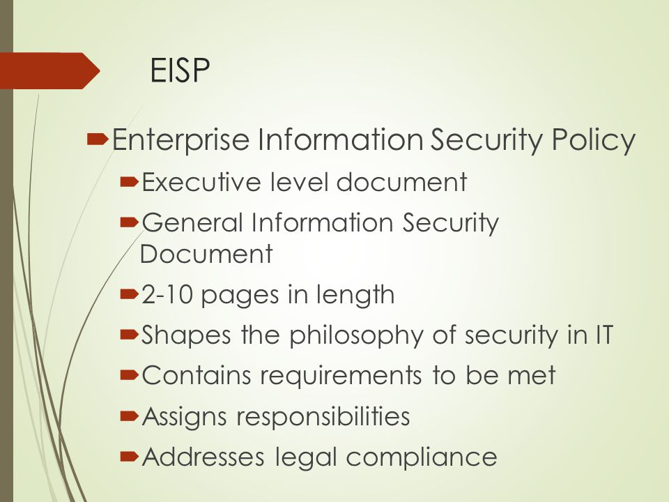 EISP Enterprise Information Security Policy Executive level document