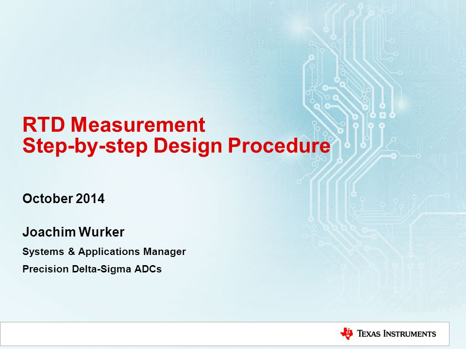 RTD Measurement Step-by-step Design Procedure