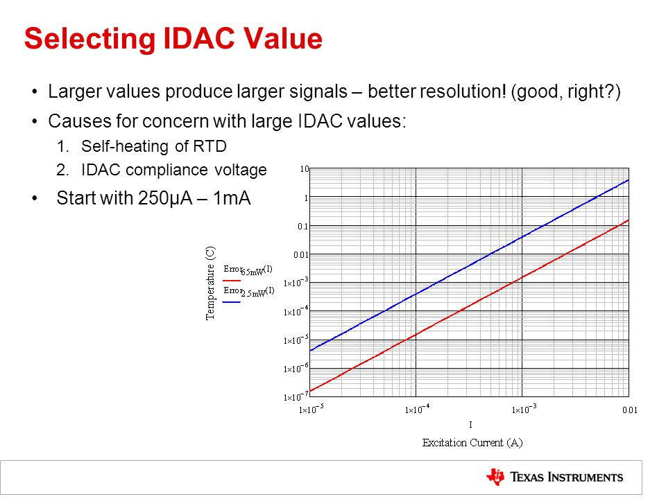 Selecting IDAC Value Larger values produce larger signals – better resolution! (good, right ) Causes for concern with large IDAC values: