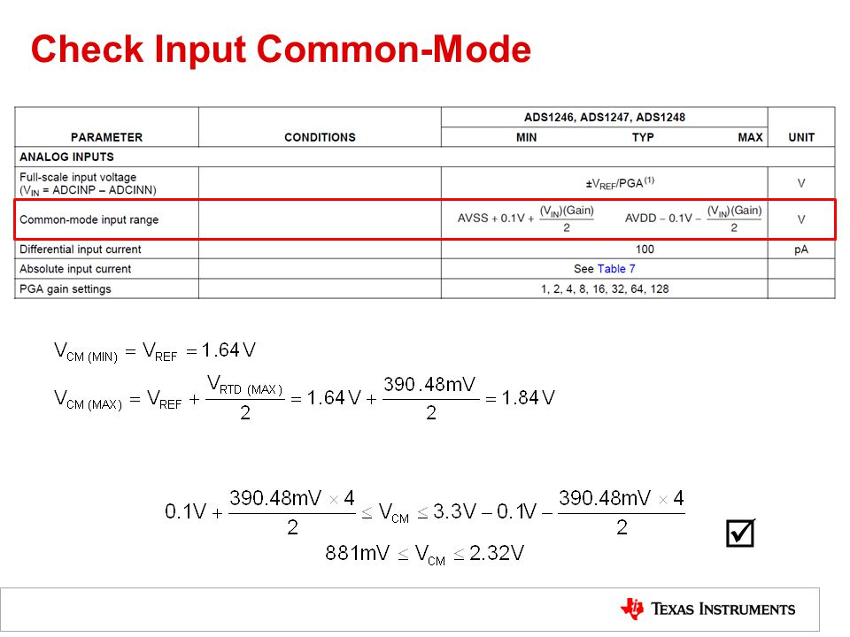 Check Input Common-Mode