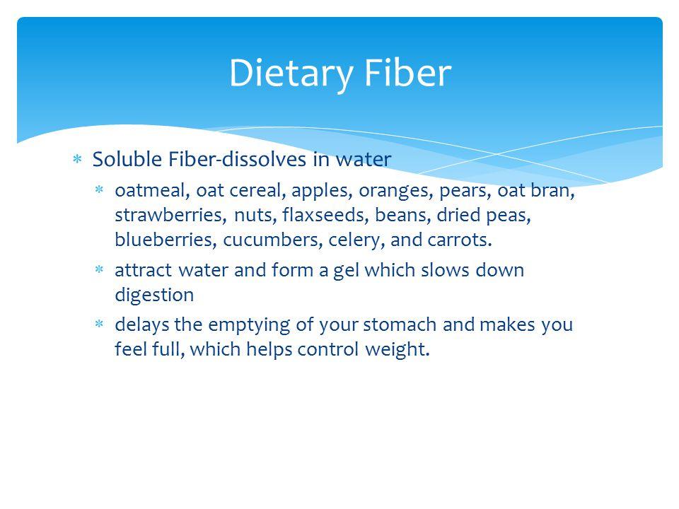 Dietary Fiber Soluble Fiber-dissolves in water