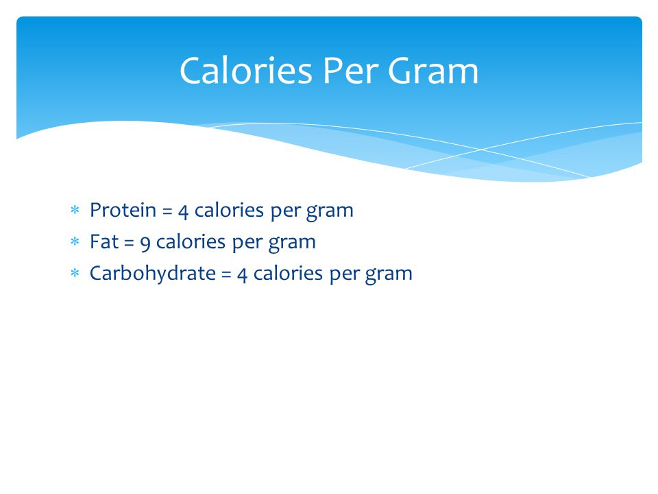 Calories Per Gram Protein = 4 calories per gram