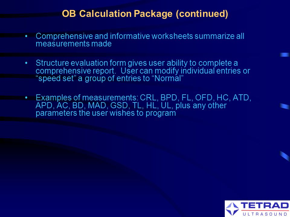 OB Calculation Package (continued)