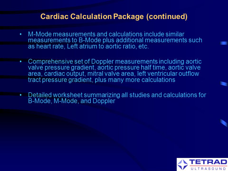 Cardiac Calculation Package (continued)