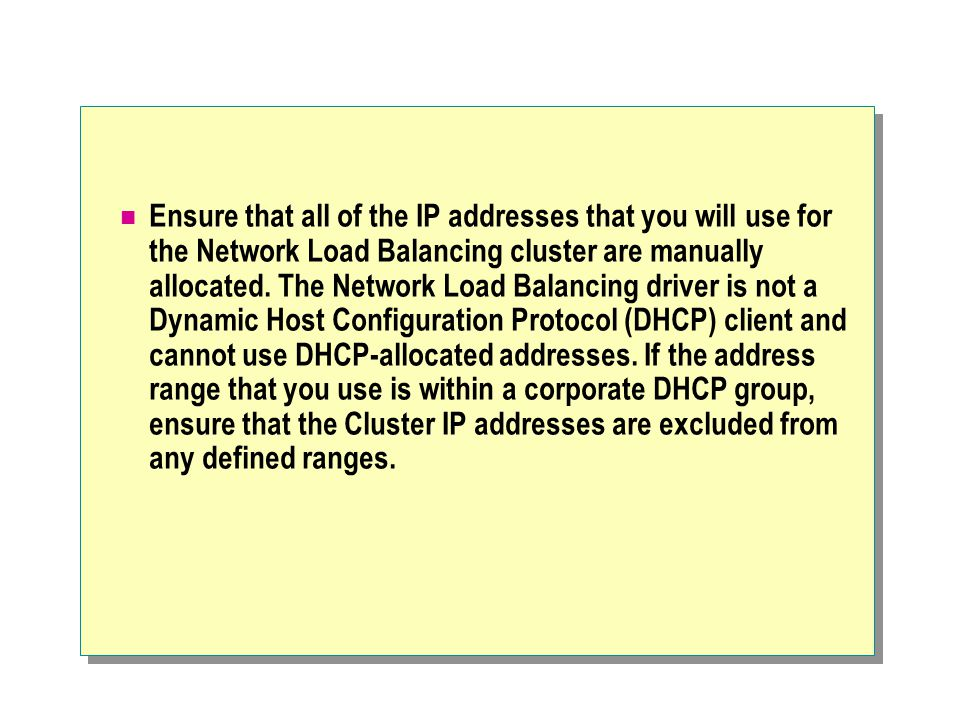 Ensure that all of the IP addresses that you will use for the Network Load Balancing cluster are manually allocated.