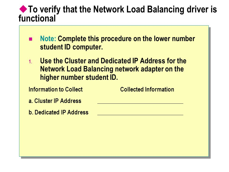 To verify that the Network Load Balancing driver is functional