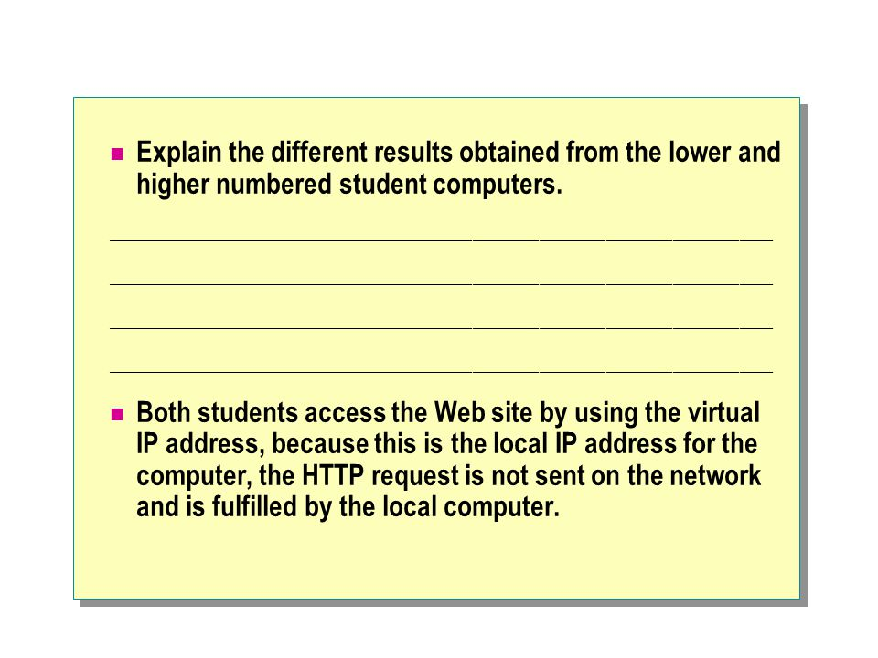 Explain the different results obtained from the lower and higher numbered student computers.