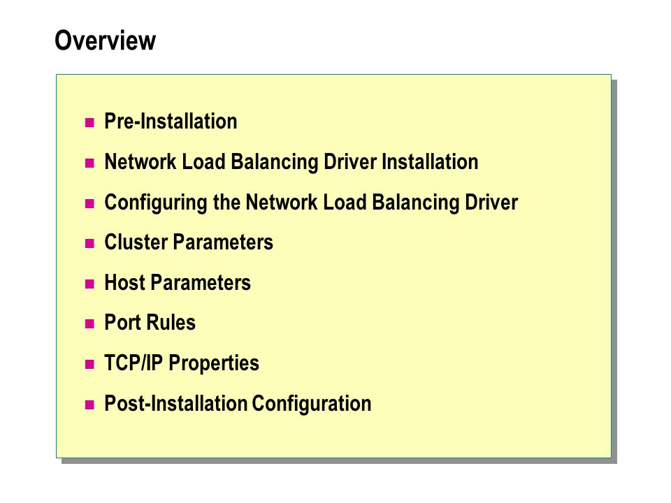 Overview Pre-Installation Network Load Balancing Driver Installation