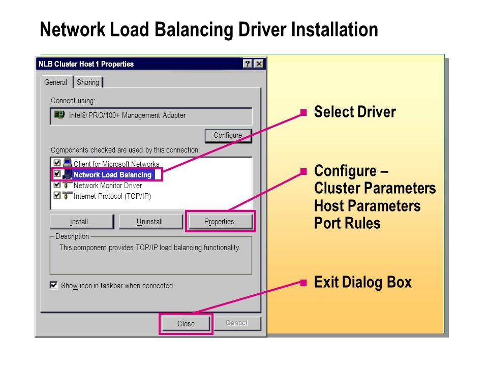 Network Load Balancing Driver Installation