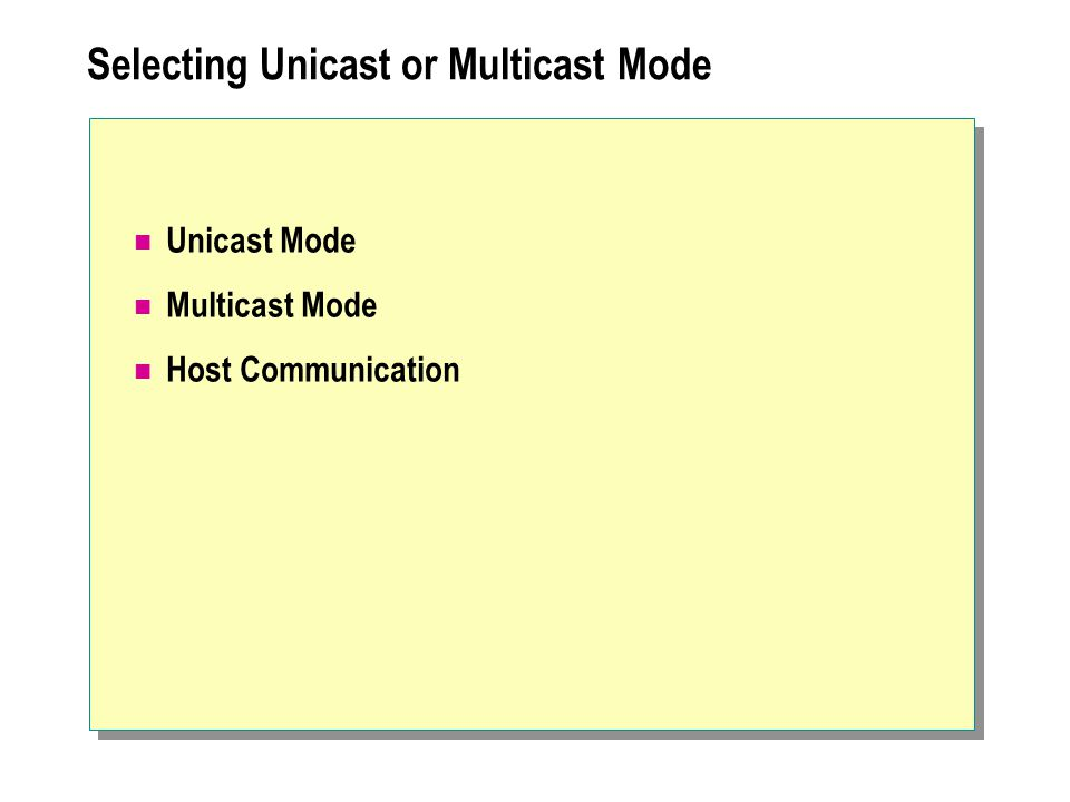 Selecting Unicast or Multicast Mode