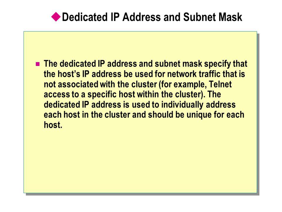 Dedicated IP Address and Subnet Mask