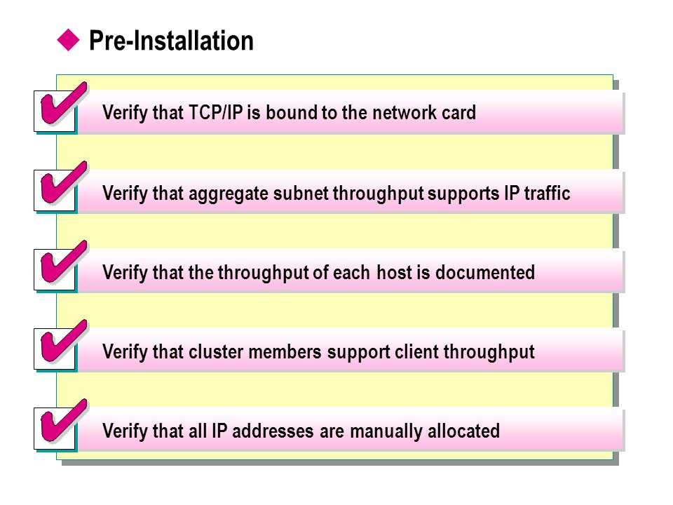 Pre-Installation Verify that TCP/IP is bound to the network card