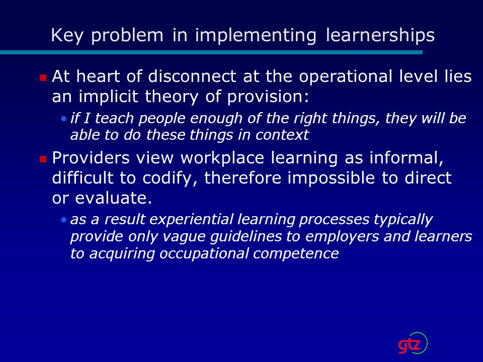 Key problem in implementing learnerships