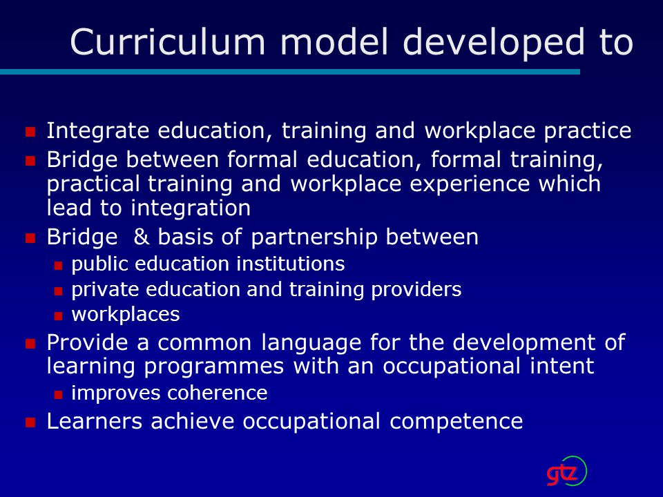 Curriculum model developed to