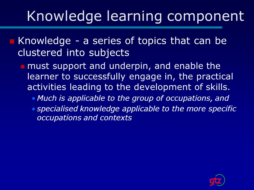 Knowledge learning component