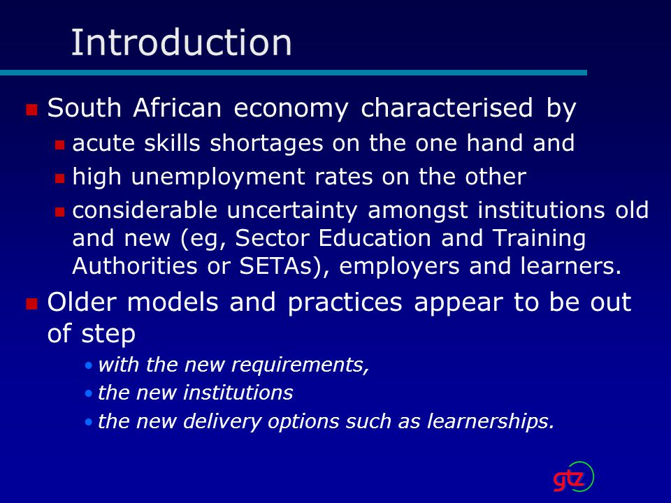 Introduction South African economy characterised by