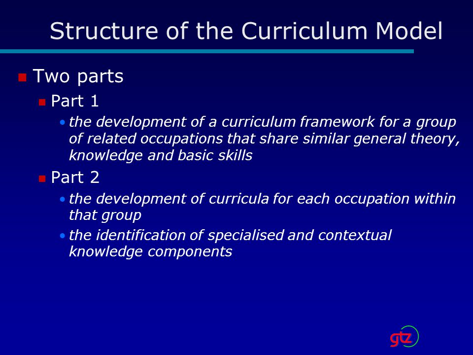 Structure of the Curriculum Model