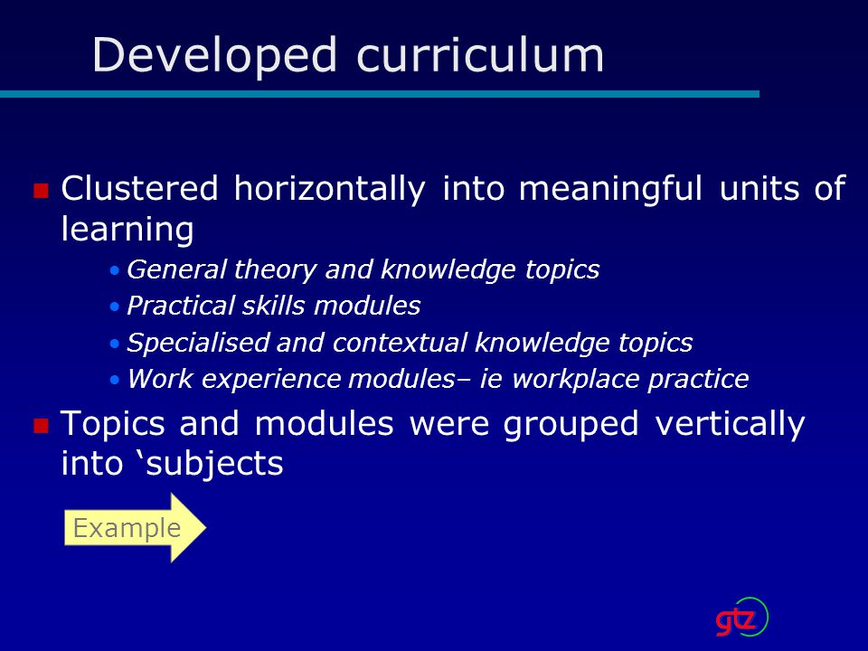 Developed curriculum Clustered horizontally into meaningful units of learning. General theory and knowledge topics.