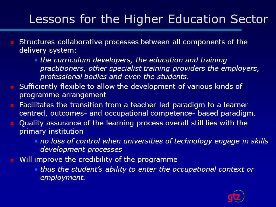 Lessons for the Higher Education Sector