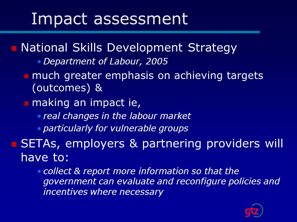 Impact assessment National Skills Development Strategy