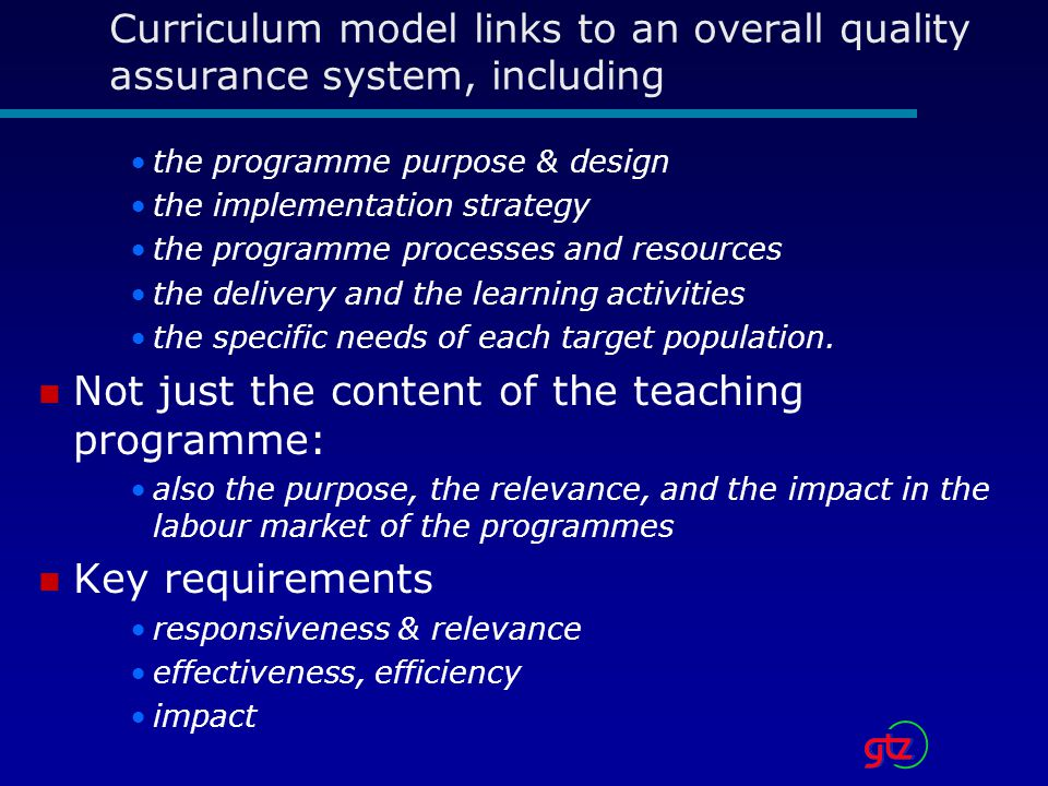Not just the content of the teaching programme: