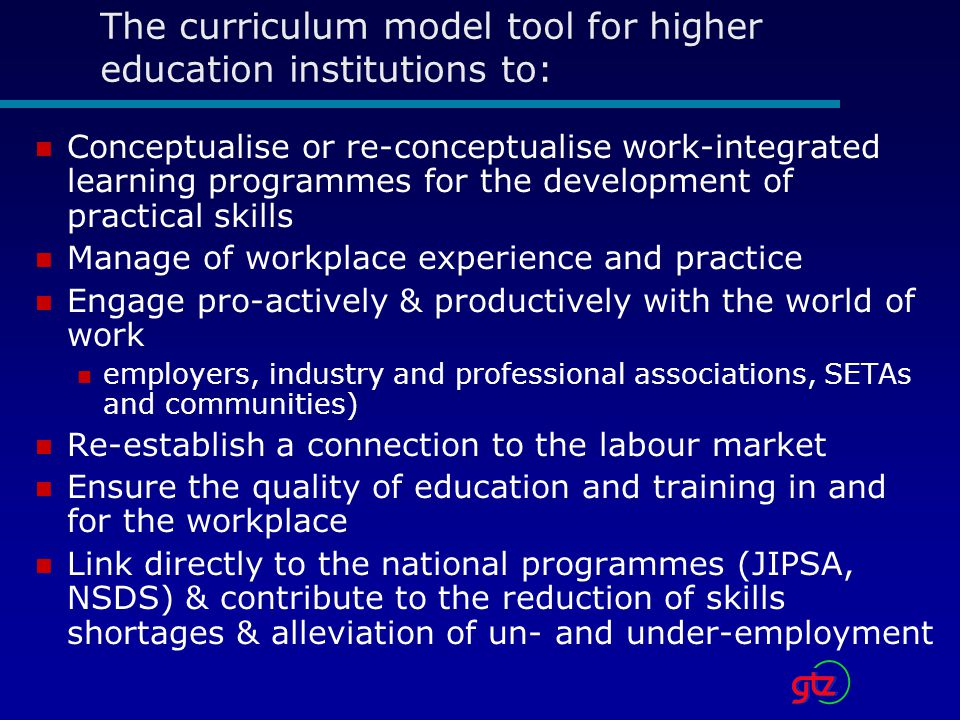 The curriculum model tool for higher education institutions to: