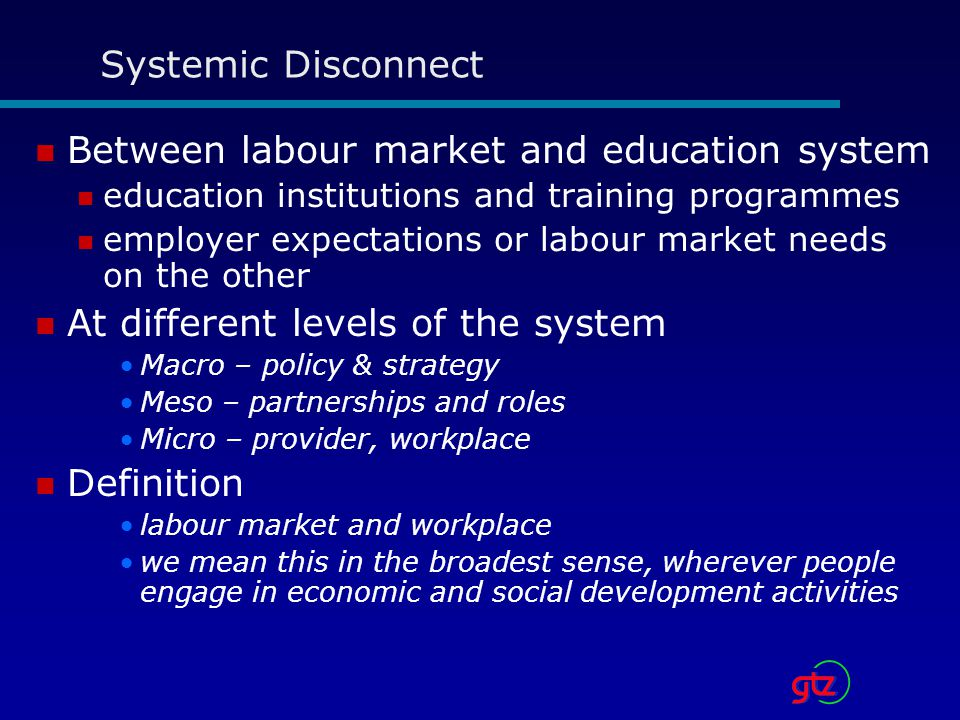 Between labour market and education system