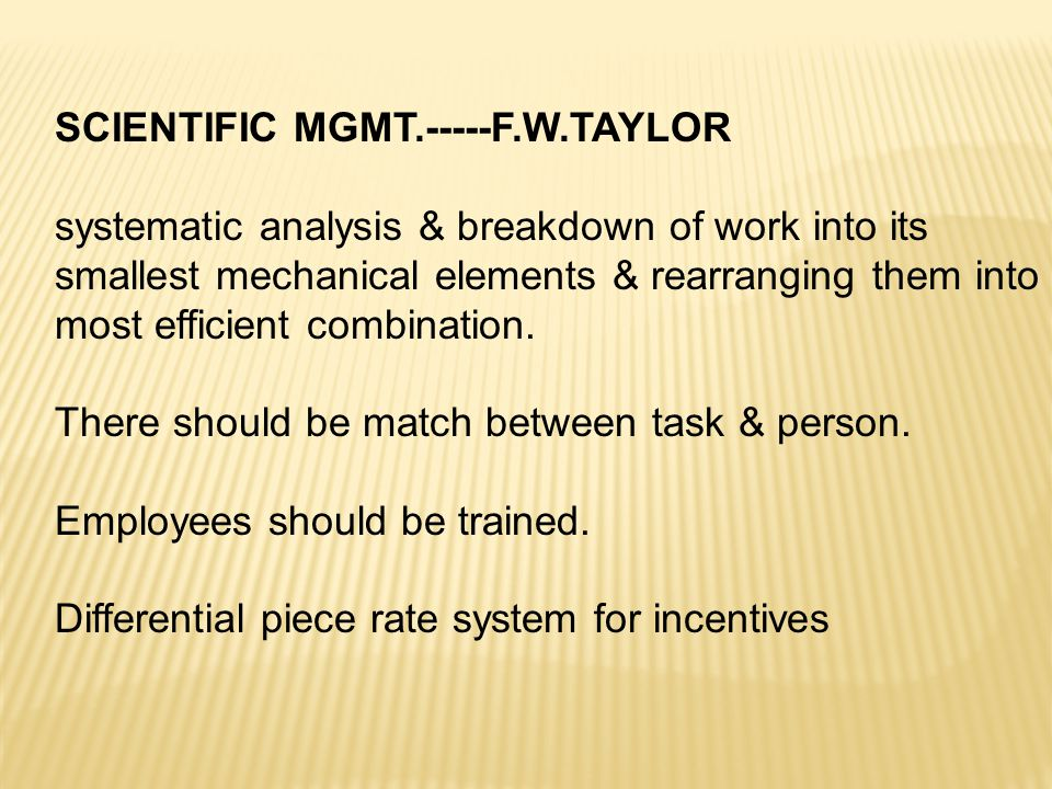 SCIENTIFIC MGMT.-----F.W.TAYLOR