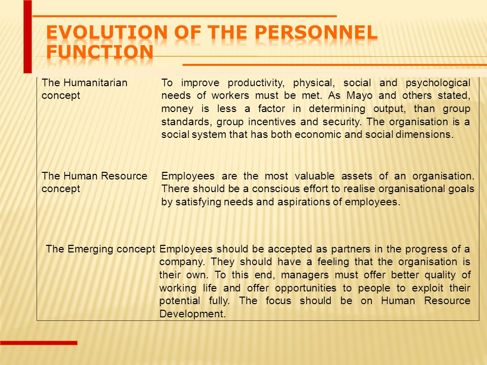 Evolution of the Personnel Function
