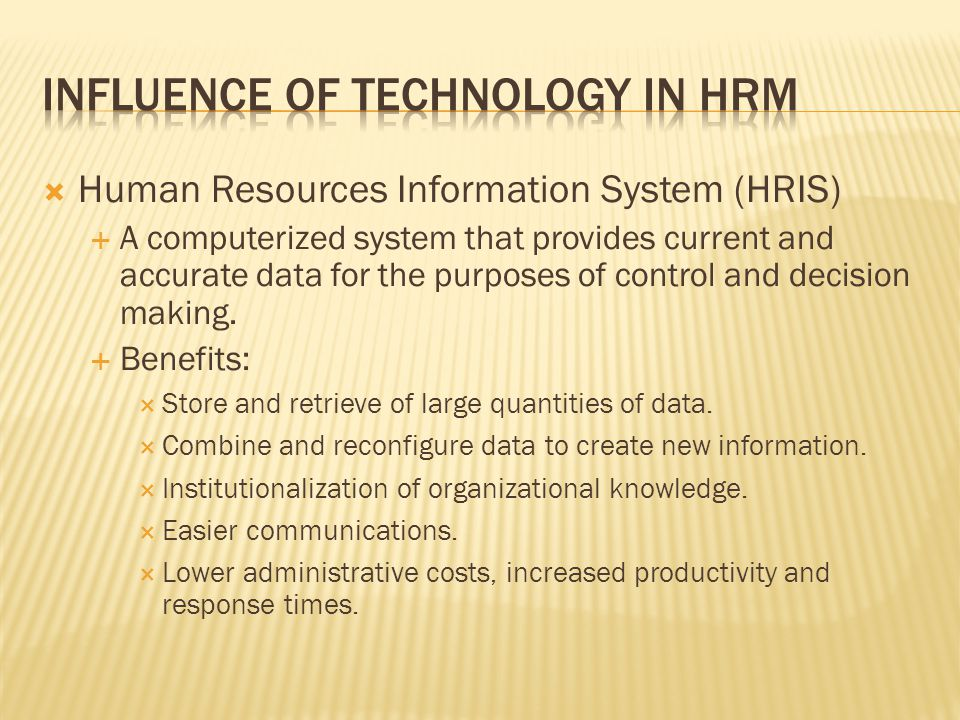 Influence of Technology in HRM