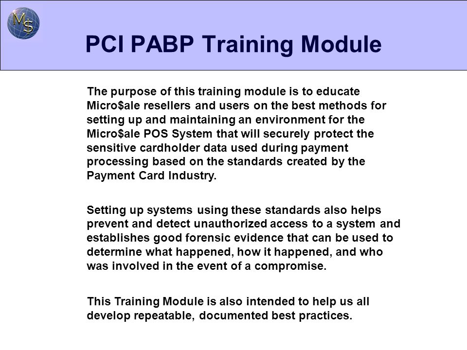 PCI PABP Training Module