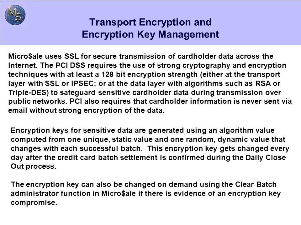 Transport Encryption and Encryption Key Management